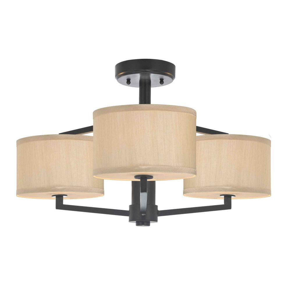semi flush ceiling light with drum shades 1885 40. Black Bedroom Furniture Sets. Home Design Ideas