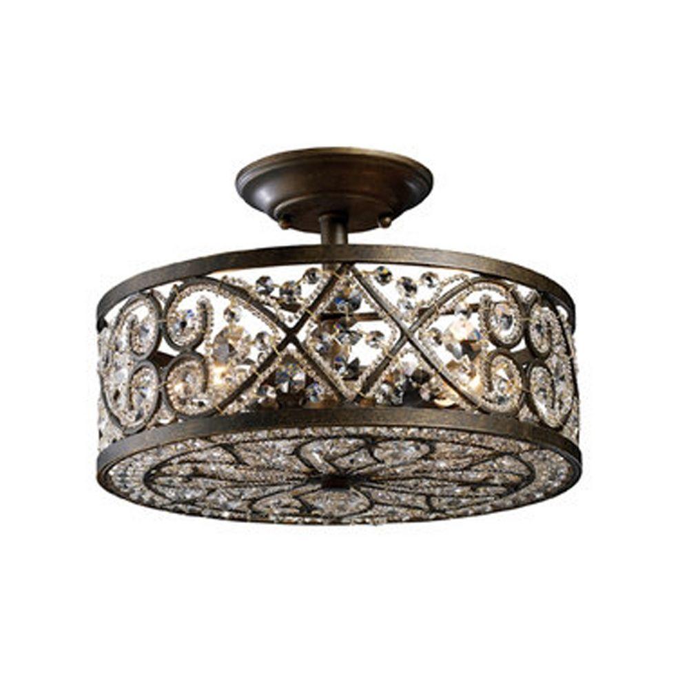 Semi Flushmount Light In Antique Bronze Finish 11286 4