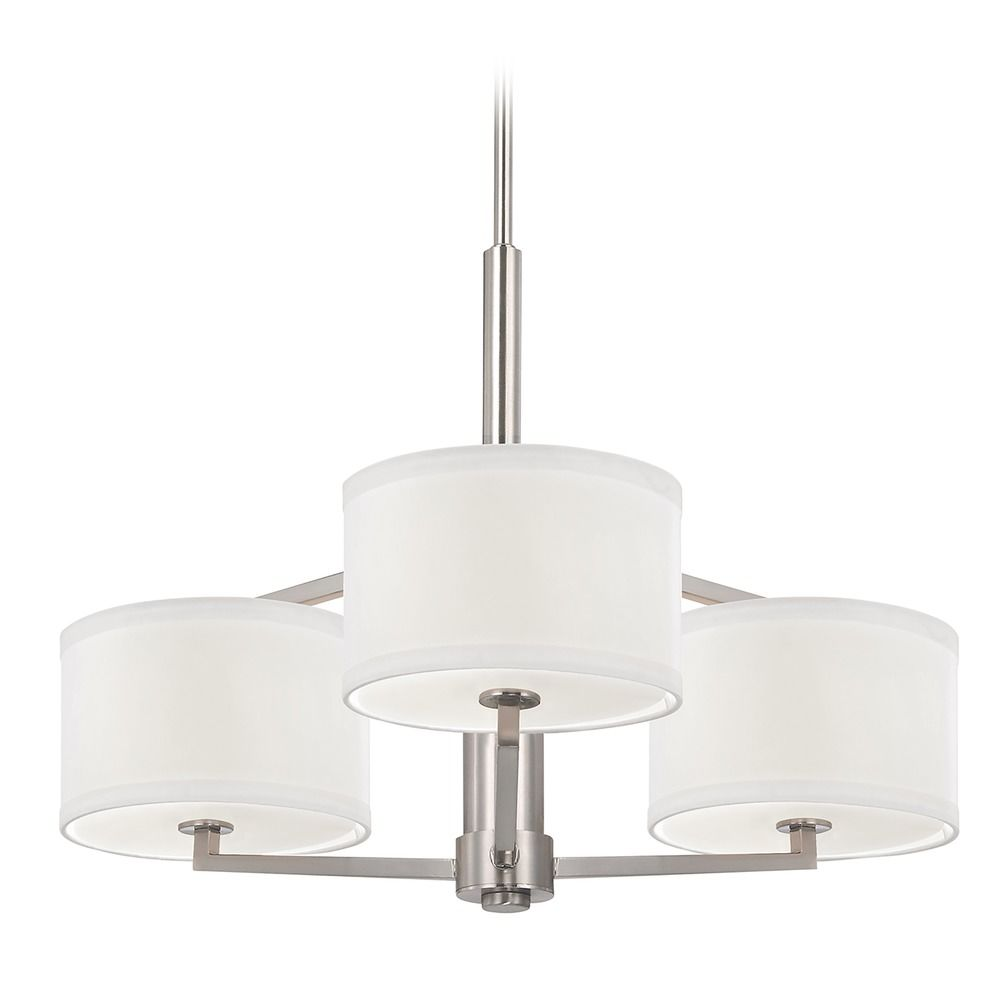 Dolan designs 3 light chandelier with drum shade in satin nickel product image aloadofball Image collections