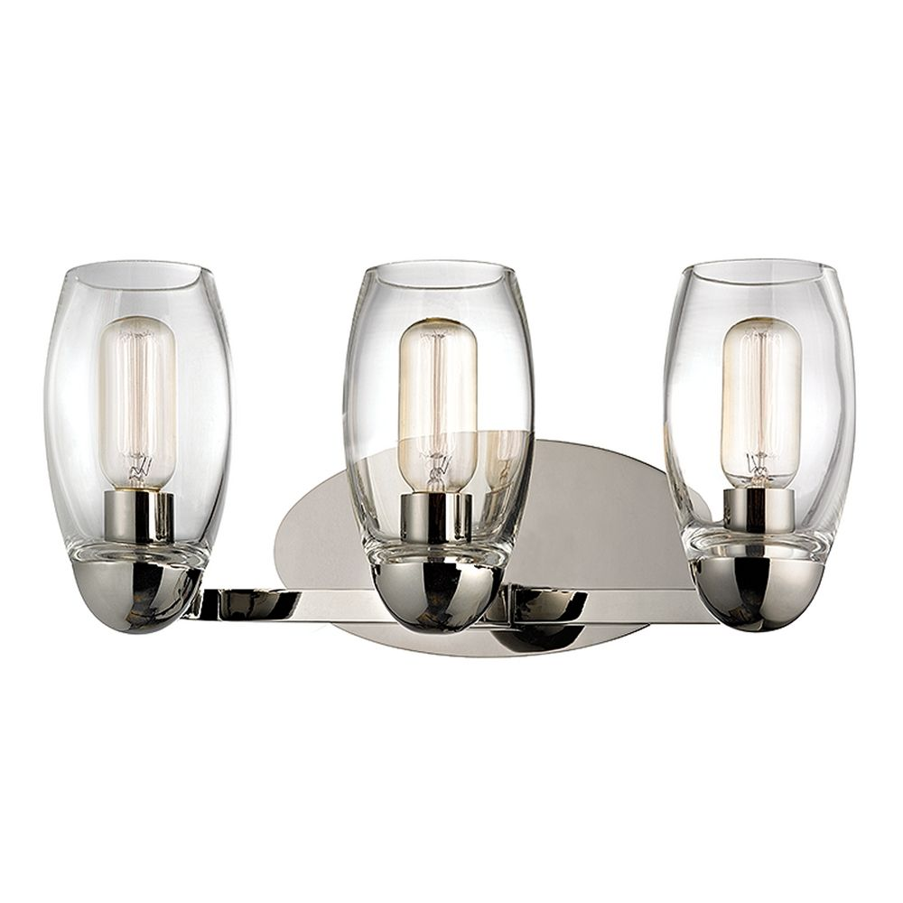Modern Bathroom Light Polished Nickel Pamelia By Hudson Valley 8843 Pn Destination Lighting