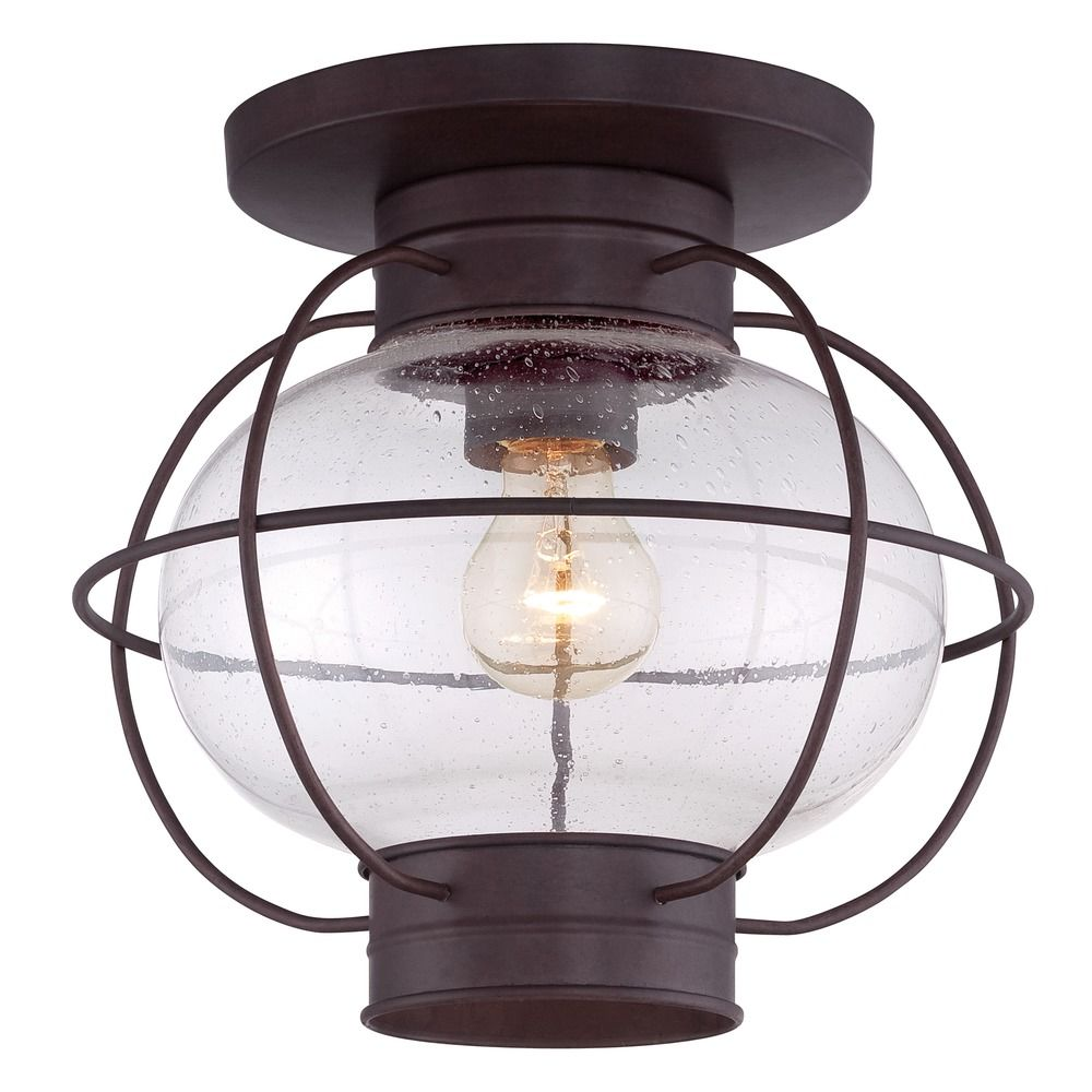 Seeded Glass Close To Ceiling Light Bronze Quoizel ...