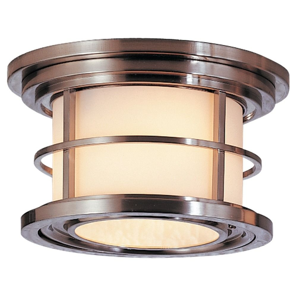 Outdoor Ceiling Light With White Glass In Brushed Steel