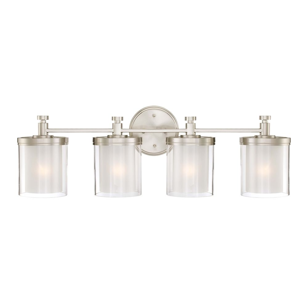 Modern Bathroom Light with White Glass in Brushed Nickel Finish 60/4644 Destination Lighting