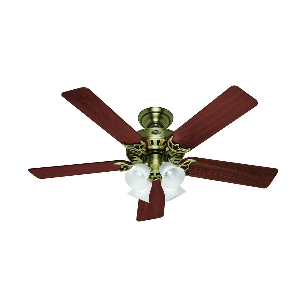 Hunter fan company studio series antique brass ceiling fan with light 53063 destination lighting - Vintage ceiling fan with light ...