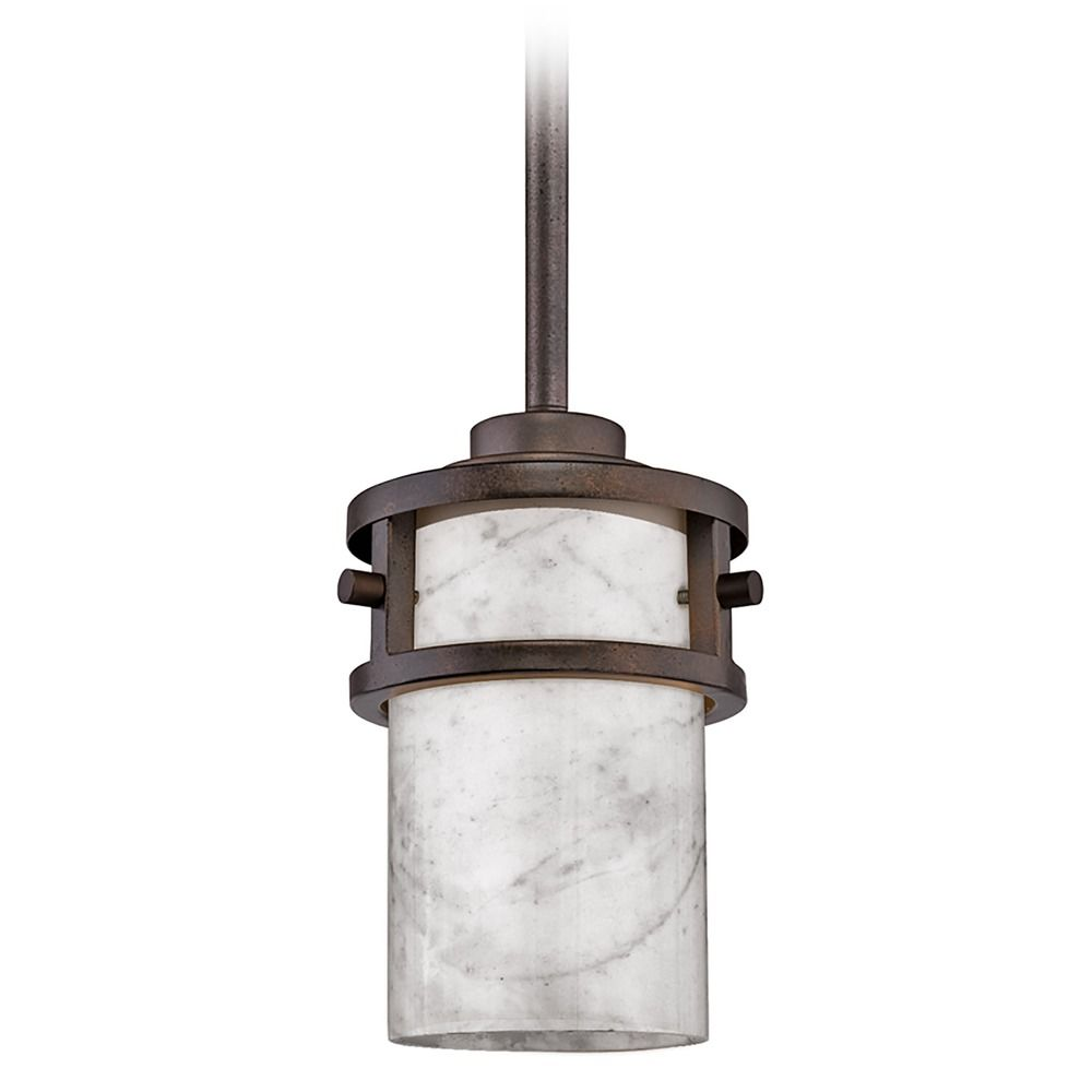 Mini Pendant Light With White Onyx Cylinder Shade