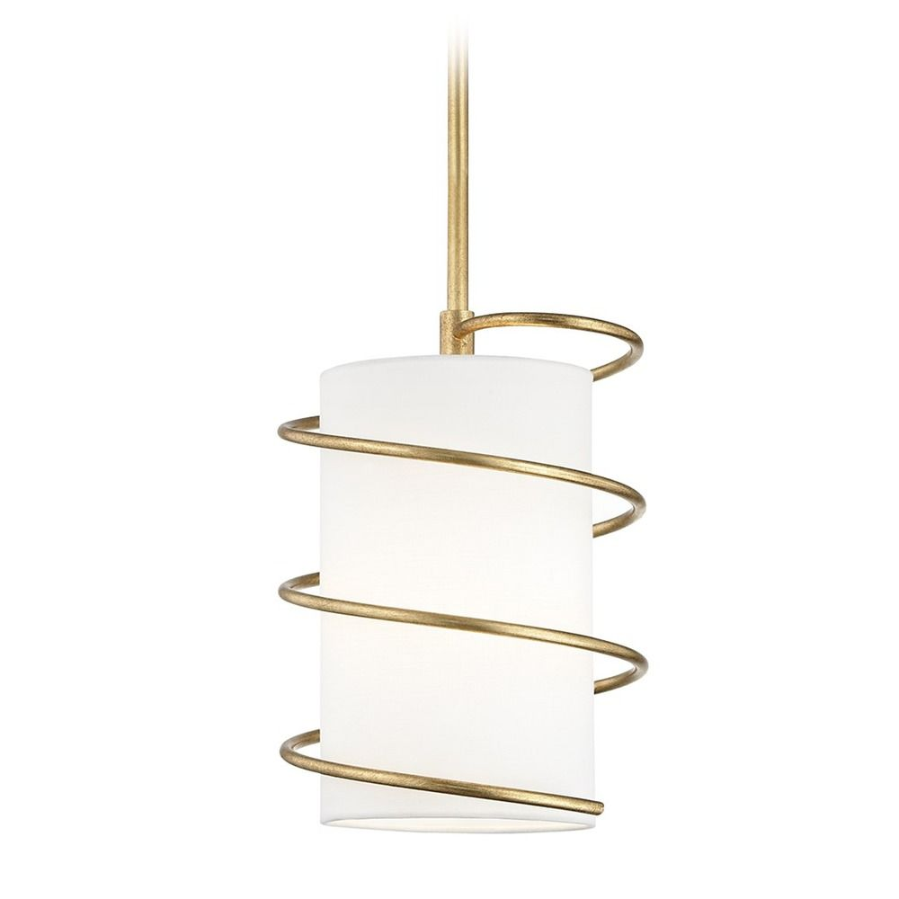 Mitzi Carly Gold Leaf Pendant Light With Cylindrical Shade
