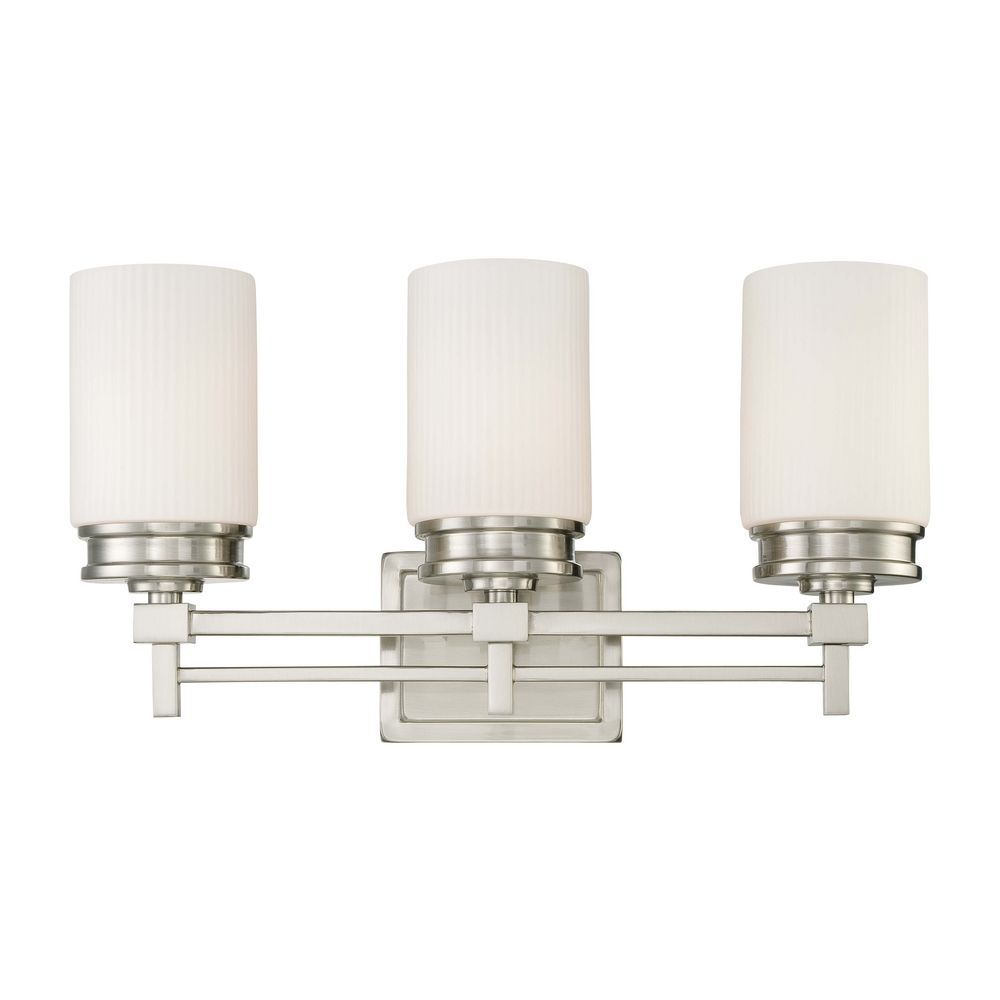 Modern Bathroom Light With White Glass In Brushed Nickel Finish 60 4703 Destination Lighting