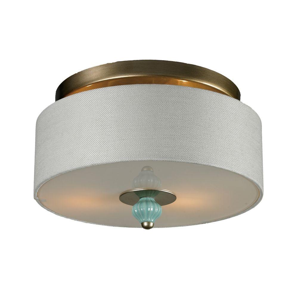 semi flushmount drum ceiling light with white shade