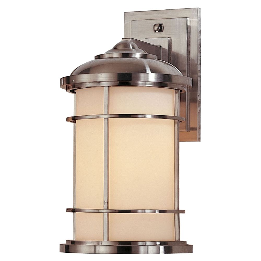 Porch Light White: Outdoor Wall Light With White Glass In Brushed Steel