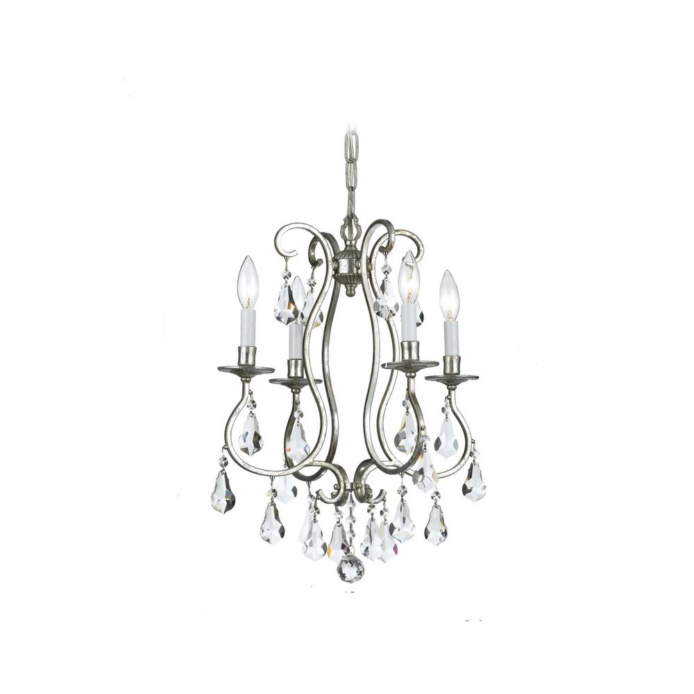 crystorama lighting crystal mini chandelier in old silver finish 5014
