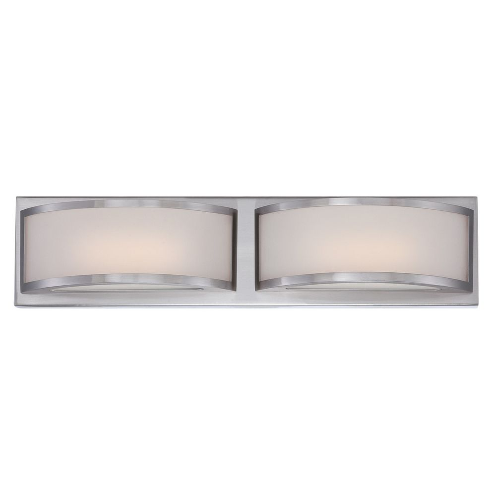 Modern Led Bathroom Light With White Glass In Brushed Nickel Finish 62 318