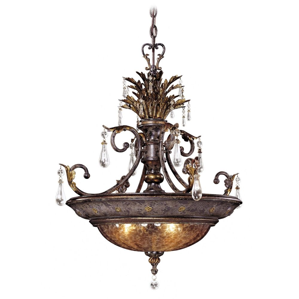 Pendant Light With Brown Glass In Sanguesa Patina Finish