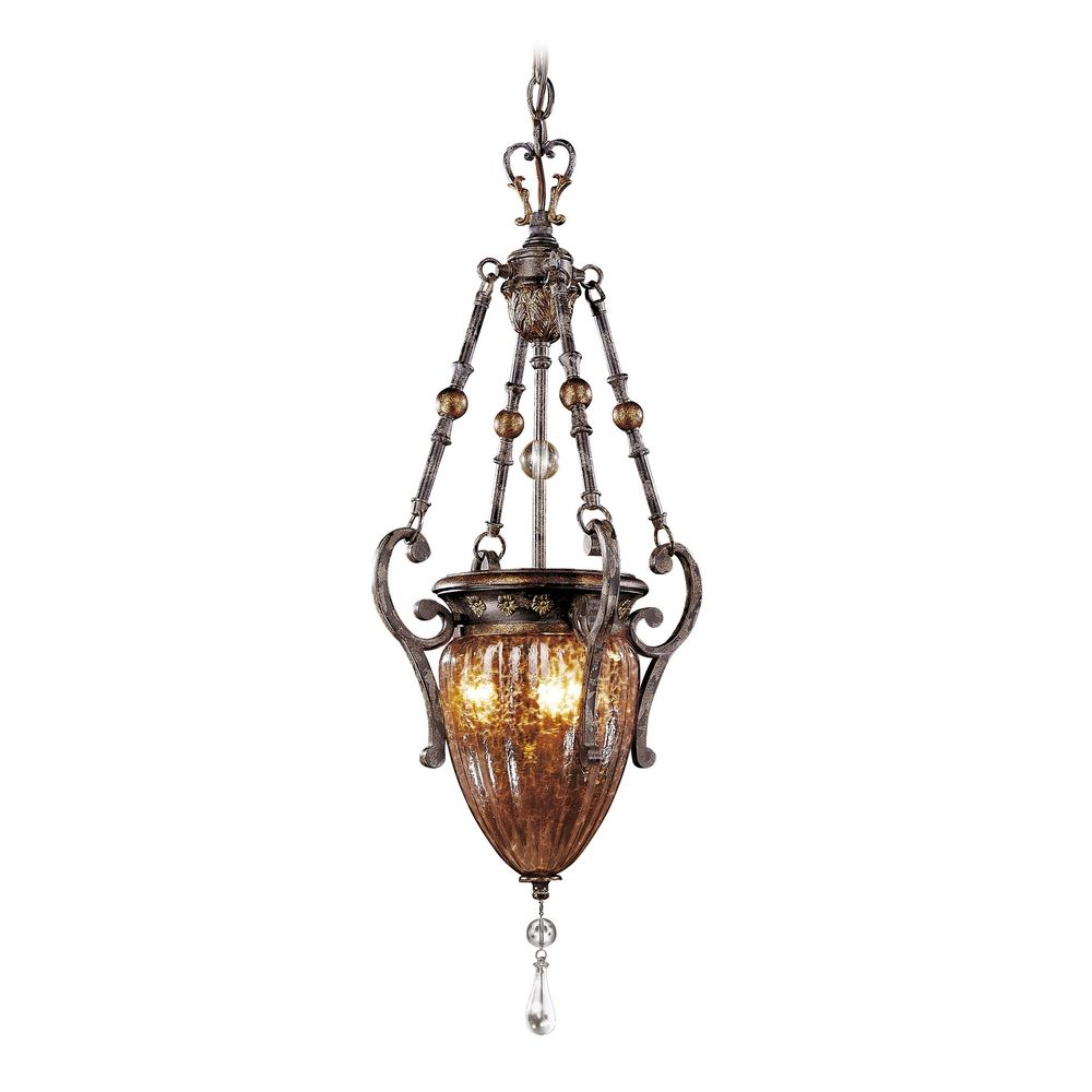 Modern Copper Ring Led Pendant Lighting 10758 Shipping: Pendant Light With Brown Glass In Sanguesa Patina Finish