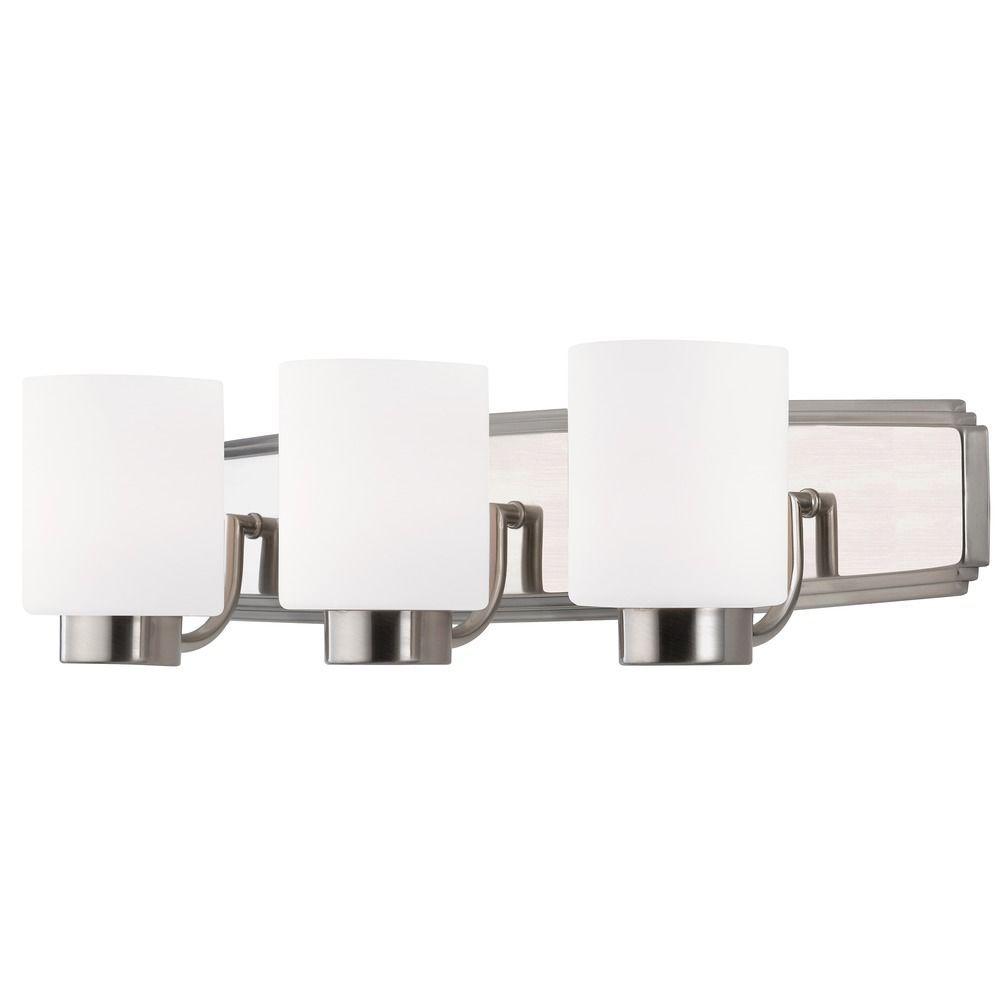 Satin nickel Satin Nickel Bathroom Light with Cylinder Glass ...