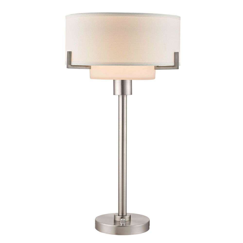 classics lighting modern table lamp with white drum shade 7010 09. Black Bedroom Furniture Sets. Home Design Ideas