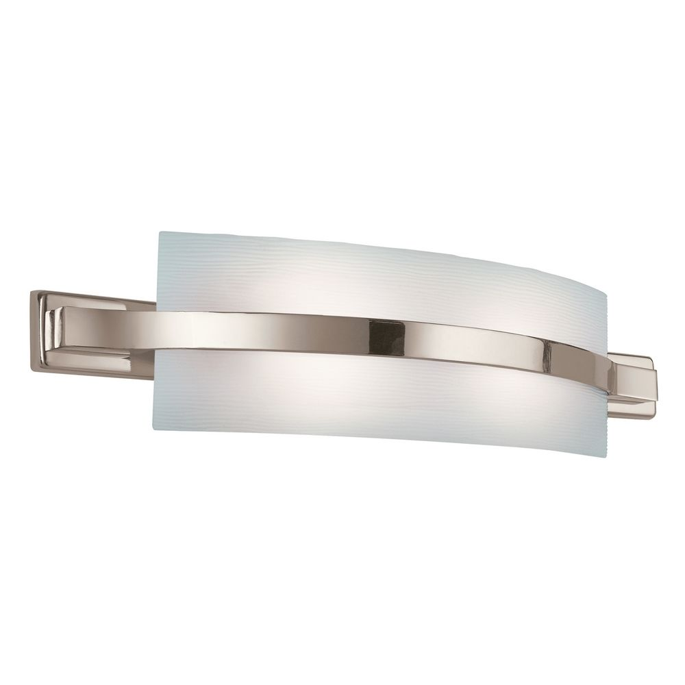 Kichler Polished Nickel Modern Bathroom Light With White Glass 10687pn Destination Lighting
