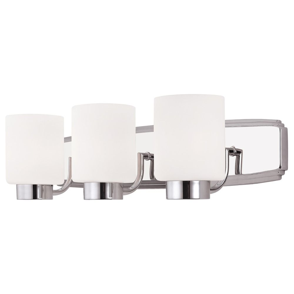 Chrome Modern Bathroom Light with Three Lights and Cylinder Glass ...