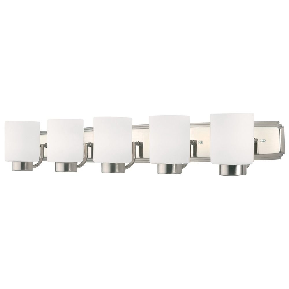 Contemporary Bathroom Light in Satin Nickel Finish with Five Lights ...