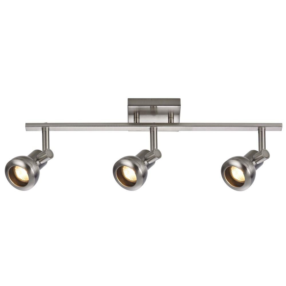 track light with 3 spot lights satin nickel gu10 base. Black Bedroom Furniture Sets. Home Design Ideas