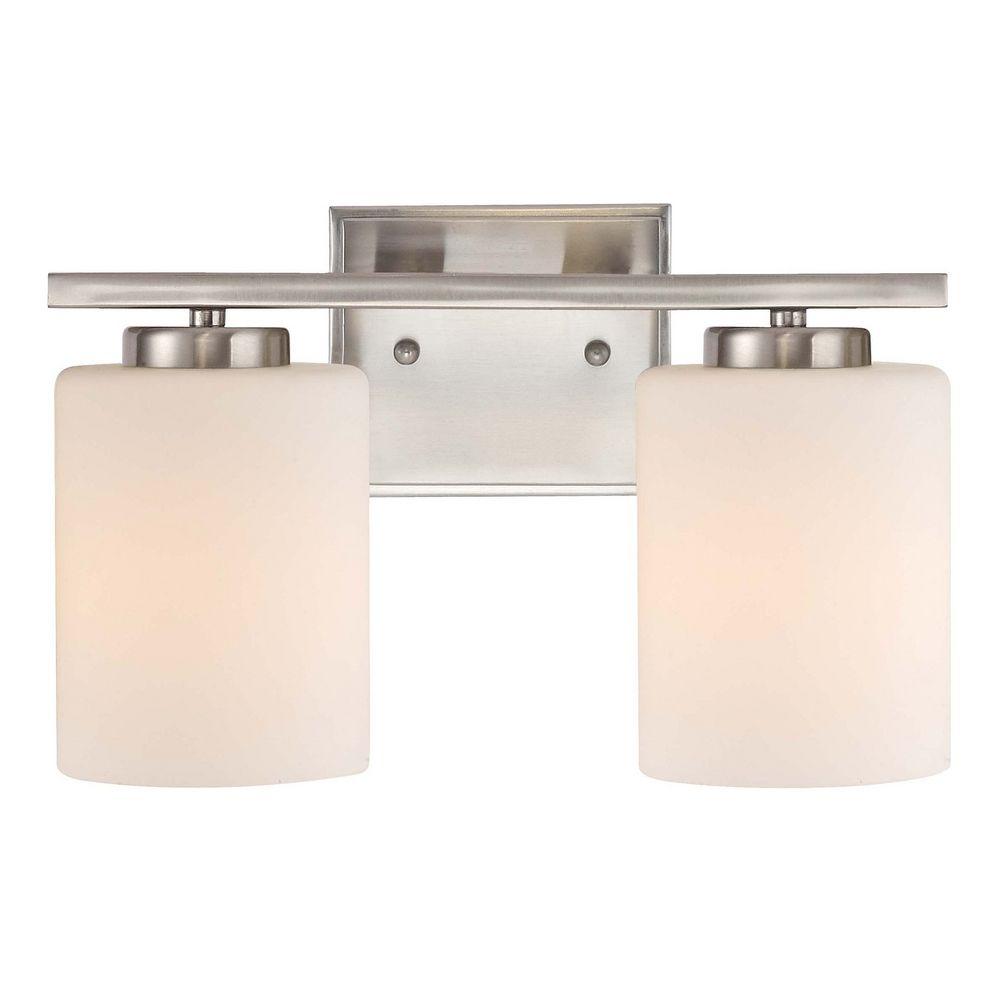 Modern bathroom light in satin nickel finish with two lights 3882 09 destination lighting for Bathroom vanity tray satin nickel
