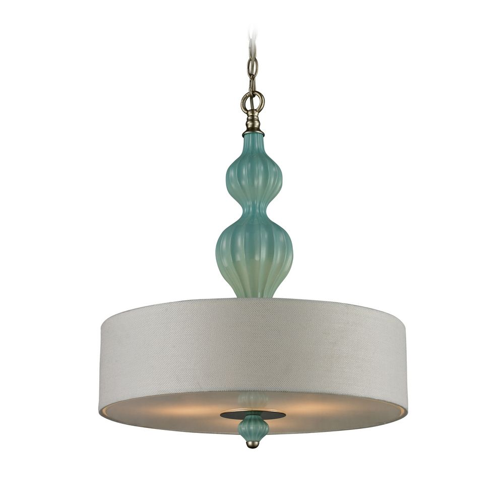Drum Pendant Light With White Shade In Aged Silver Finish