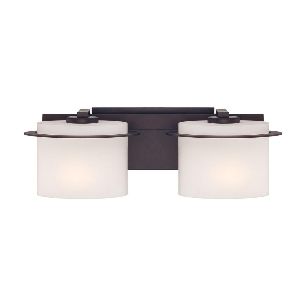 Bathroom Light With White Glass In Venetian Bronze Finish 60 5002 Destination Lighting