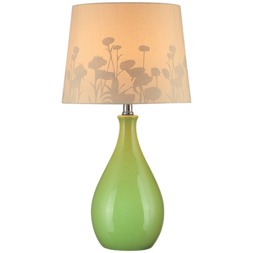 Modern Green Table Lamp With Brown Paper Barrel Shade Ls