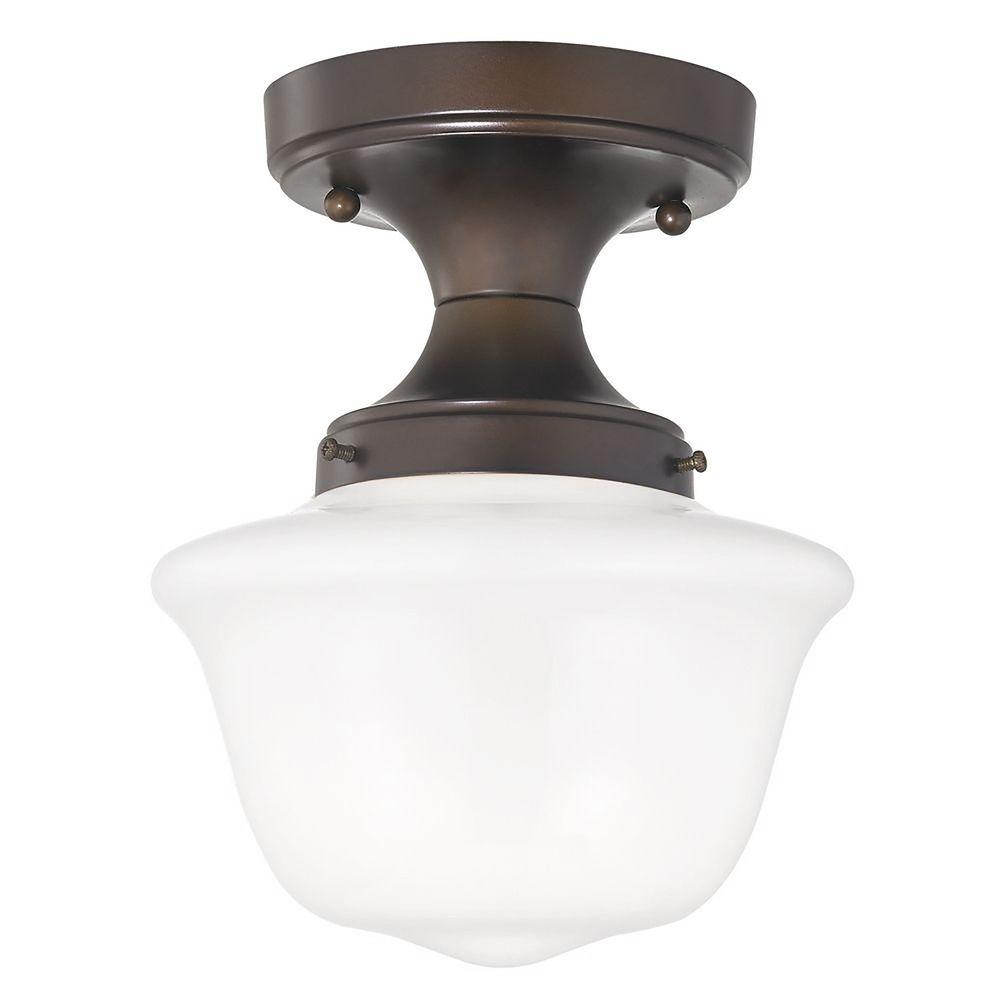 8-Inch Wide Bronze Schoolhouse Ceiling Light