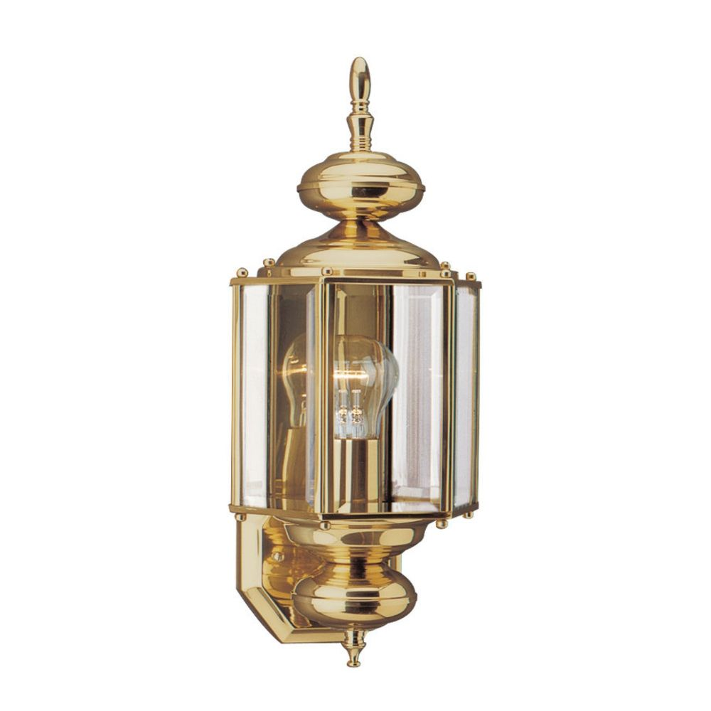 Outdoor Wall Light With Clear Glass In Polished Brass