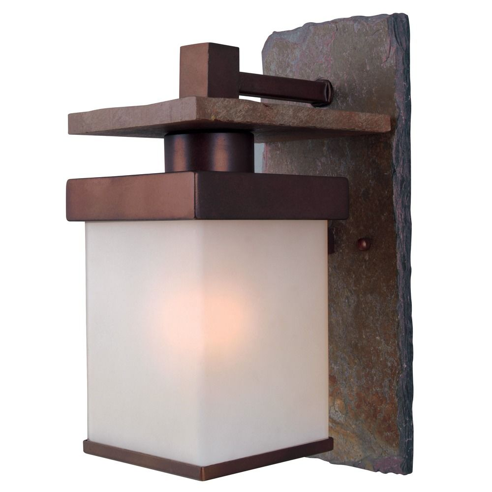 Outdoor Wall Light With White Glass In Natural Slate With