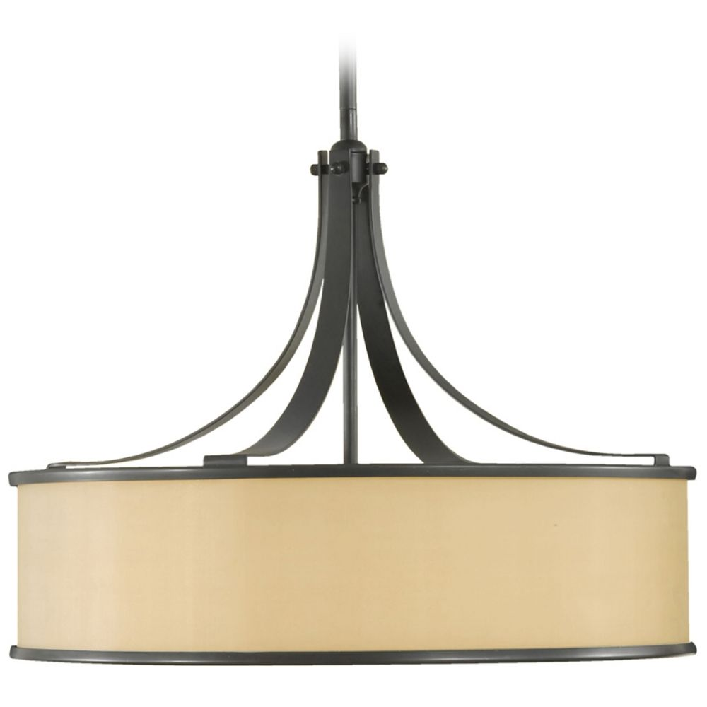 Drum pendant light with brown shade in dark bronze finish f2343 product image mozeypictures Gallery