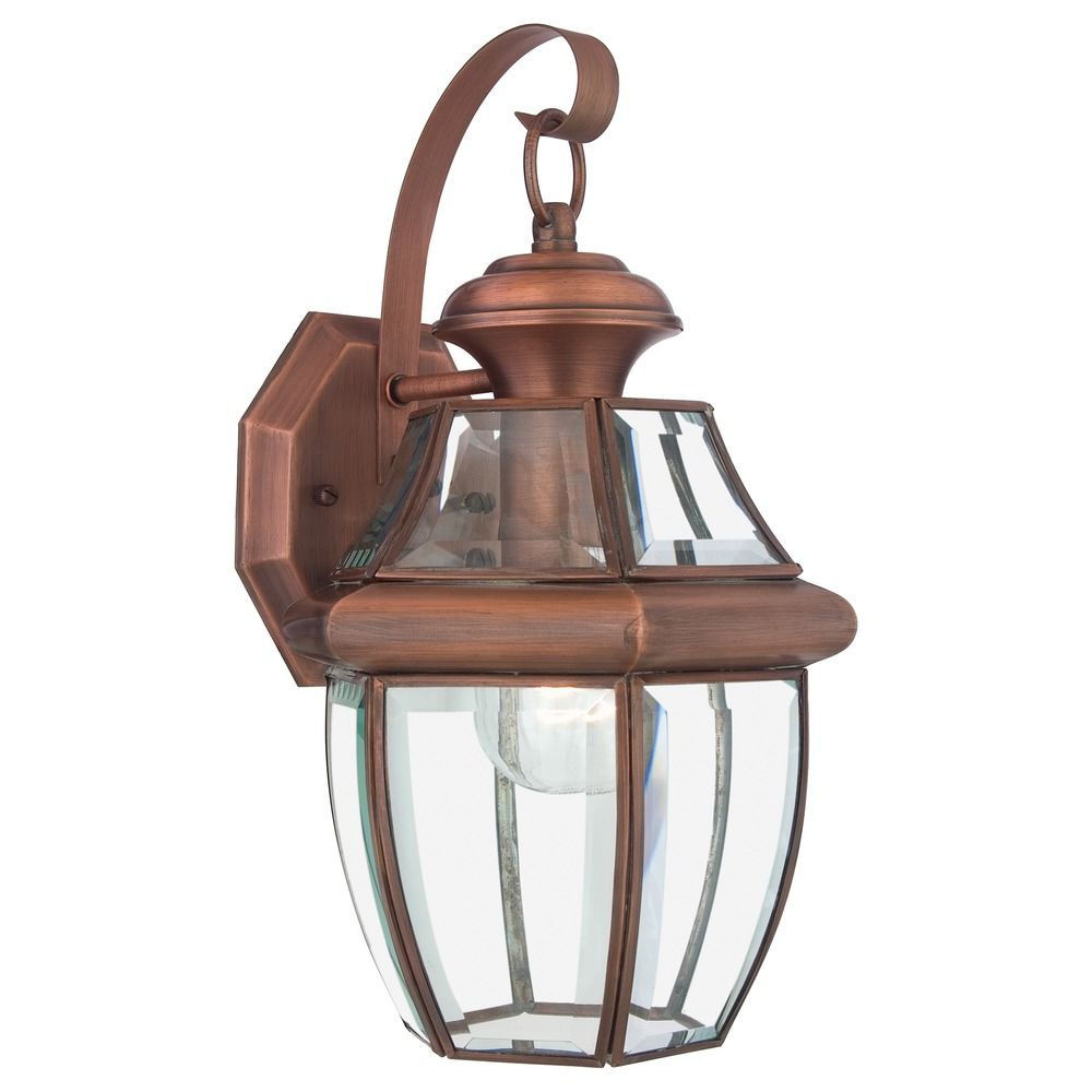 Quoizel Newbury Aged Copper Outdoor Wall Light NY8316ACFL Destination Lig