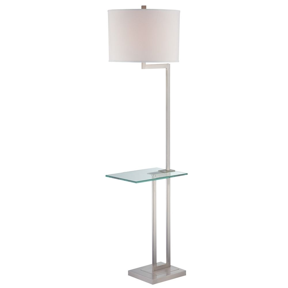 Gallery tray floor lamp with drum shade ls 81746ps wht for Floor lamp with gallery tray