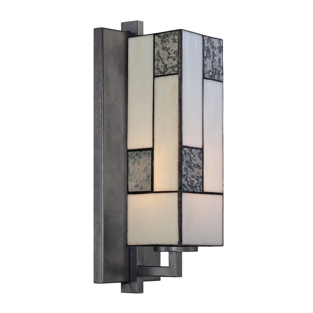 Sconce Wall Light with Art Glass in Charcoal Finish 84101-CHA Destination Lighting