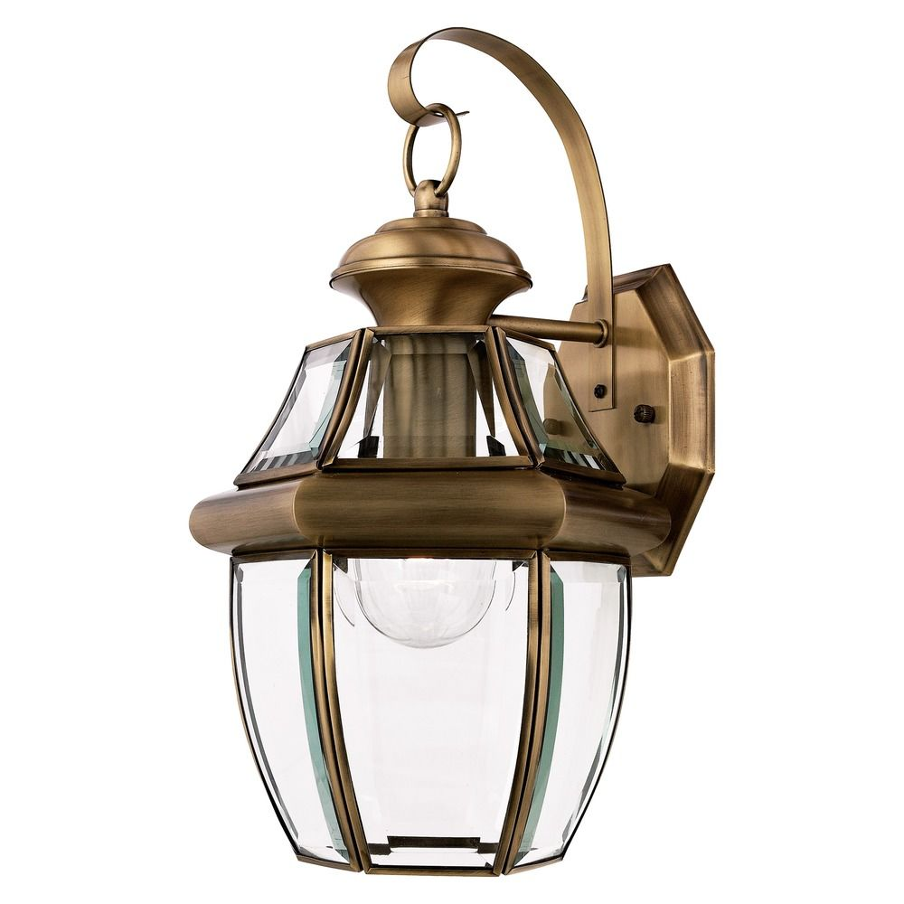 Quoizel Newbury Antique Brass Outdoor Wall Light NY8316AFL Destination Lighting