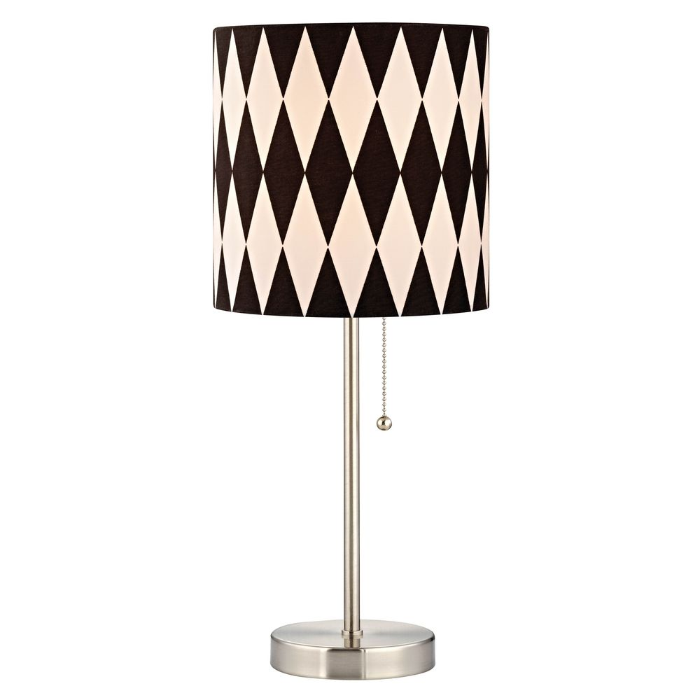 Product Image - Satin Nickel Pull-Chain Table Lamp With Harlequin Patterned Drum