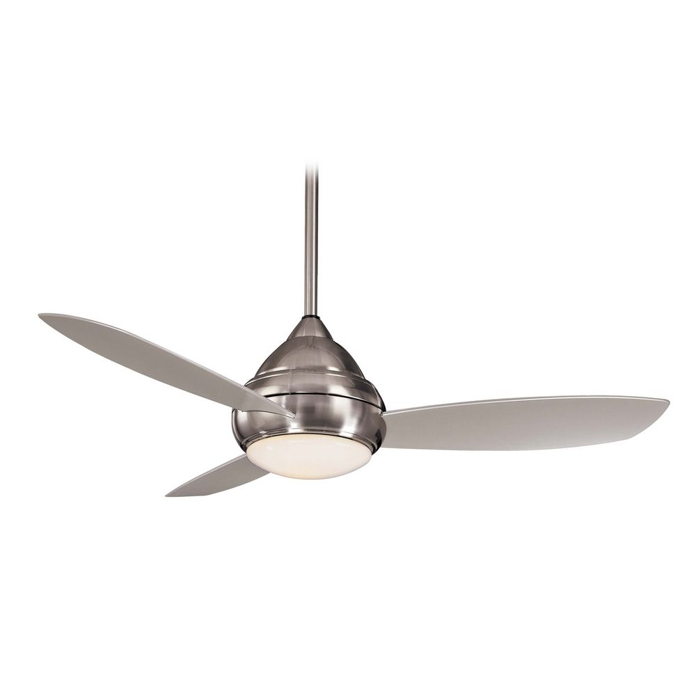 Modern ceiling fan with light with white glass in brushed nickel wet finish f577 bnw - Modern white ceiling fan ...