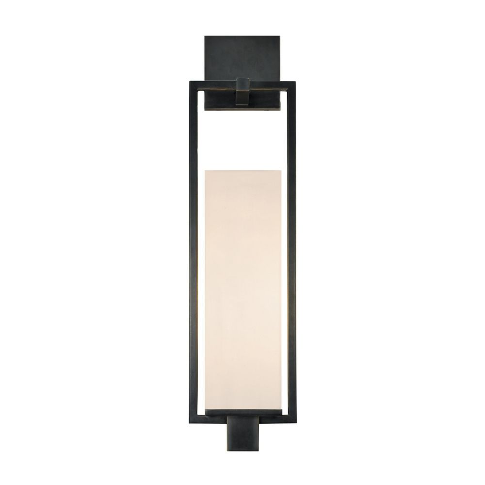 Modern Sconce Wall Light with White Shade in Black Brass Finish 4490.51F Destination Lighting