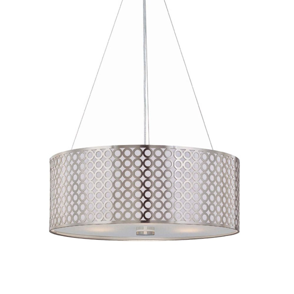 Netto Modern Three Light Drum Pendant With Metal Shade LS 19519PS Destina