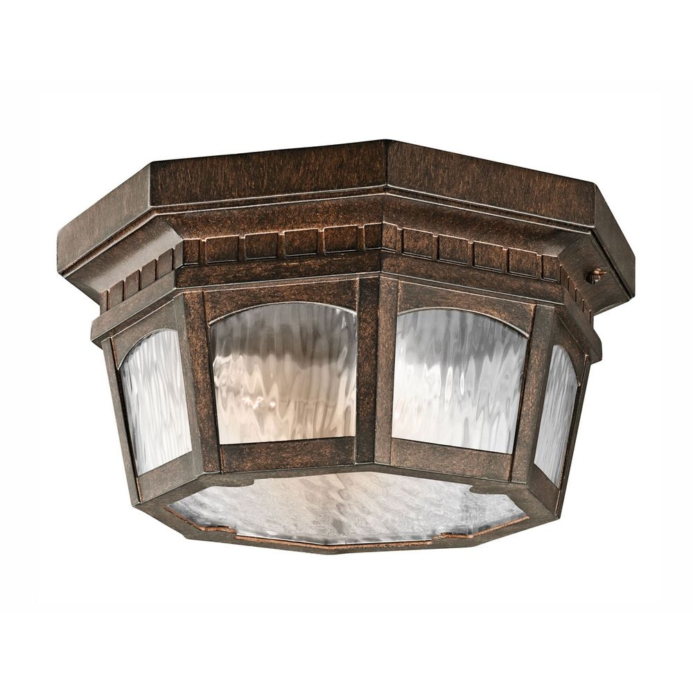 Kichler Outdoor Wall Light with Clear Rain Glass in Brushed Bronze 9538BRZ Destination Lighting