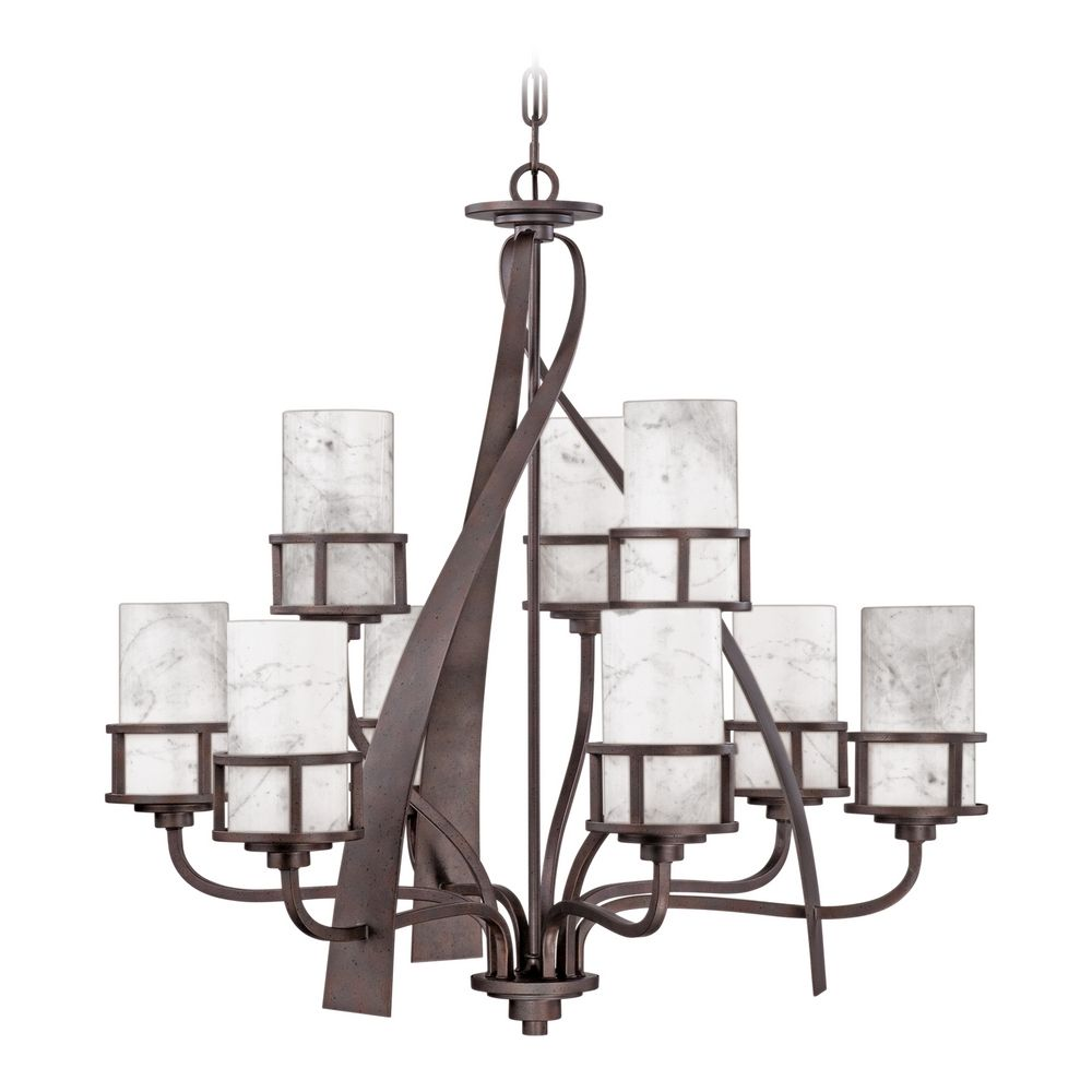 Quoizel 2 tier 8 light chandelier with white onyx cylinder shades in hover or click to zoom arubaitofo Gallery
