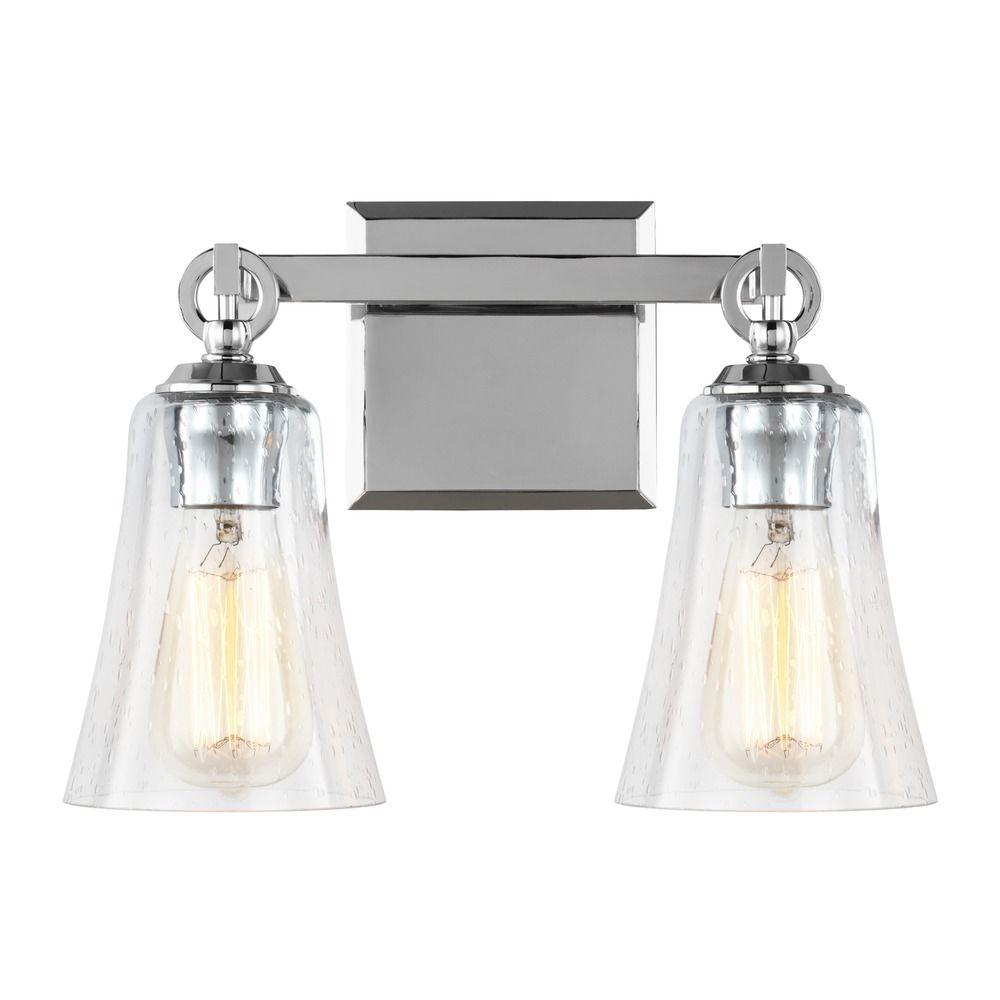 Seeded Glass Bathroom Light Chrome Feiss Lighting