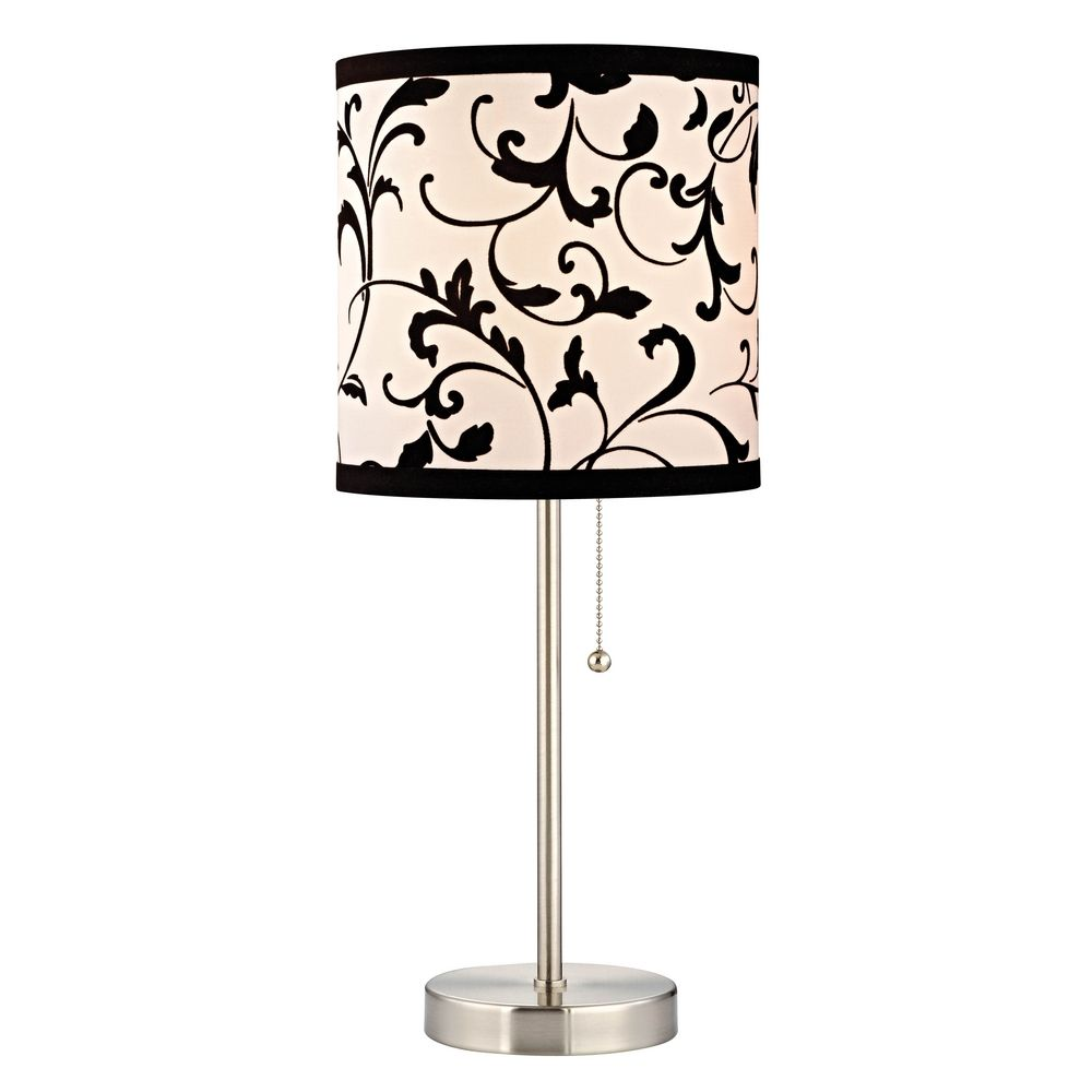 Pull Chain Table Lamp With Black White Filigree Drum Shade 1900