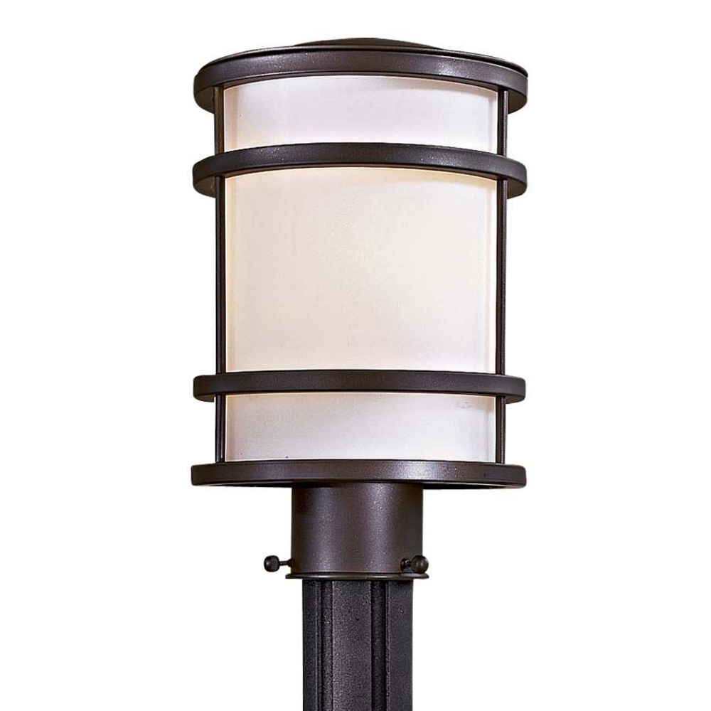 modern post light with white glass in oil rubbed bronze finish  - hover or click to zoom