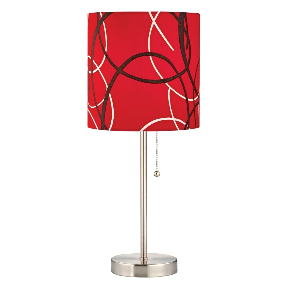 satin nickel pull chain table lamp with red pattern drum shade 1900. Black Bedroom Furniture Sets. Home Design Ideas