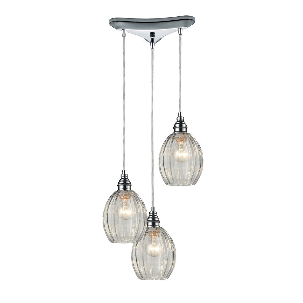 Multi Light Pendant Light With Clear Glass And 3 Lights