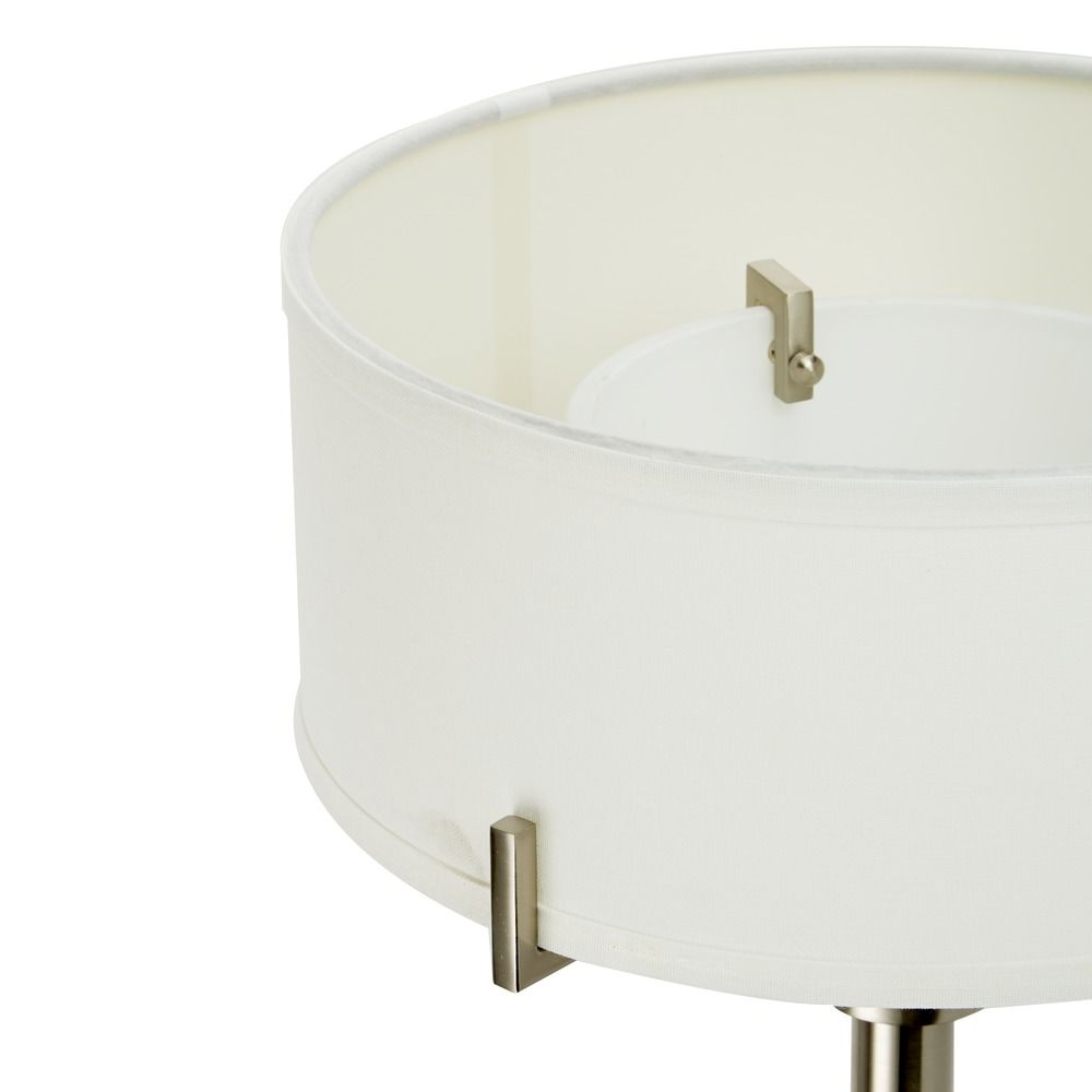modern torchiere lamp with white glass in satin nickel finish alt2 - Torchiere Lamp