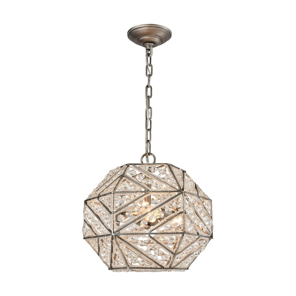 Elk Lighting Constructs Weathered Zinc Pendant Light With