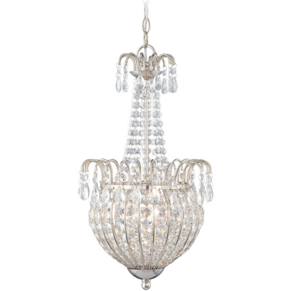 Crystal Chandelier with Silver Glass Shade in Imperial