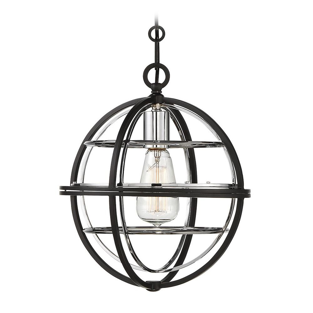 black pendant light with chrome accents globe shade vega collection